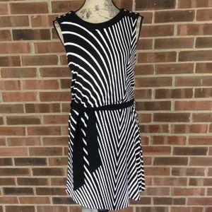 WHBM black white striped dress